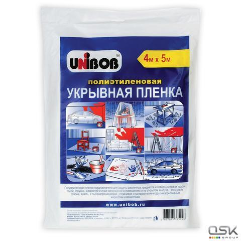 Пленка укрывная 4м х 5м, полиэтилен 12мкм, UNIBOB, европодвес, 33812