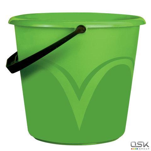 Ведро 6л, без крышки, пластиковое, пищевое, с глянцевым узором, цвет зеленый, мерная шкала, ЛАЙМА