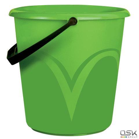 Ведро 10л, без крышки, пластиковое, пищевое, с глянцевым узором, цвет зеленый, мерная шкала, ЛАЙМА