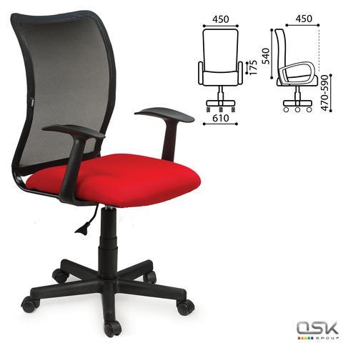 Кресло BRABIX Spring MG-307, с подлокотниками, комбинир. красное/черное TW, 531405