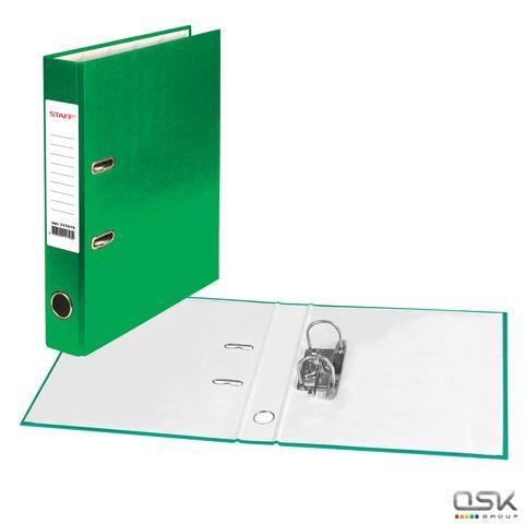 Папка-регистратор STAFF с покрытием из ПВХ, 50 мм, без уголка, зеленая, 225979