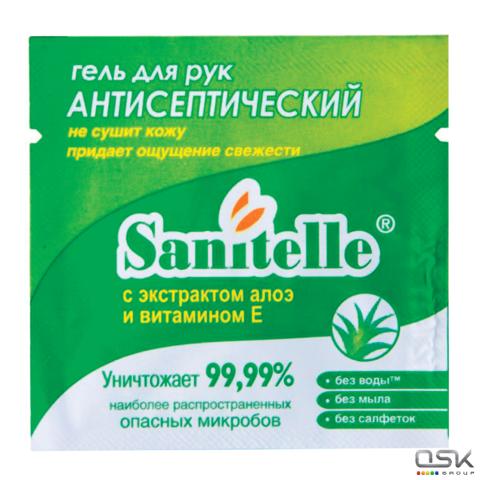 """Гель для рук антисептический 2мл SANITELLE (Санитель) """"Алоэ"""", с витамином Е, инд.уп-ка, ш/к 60169"""