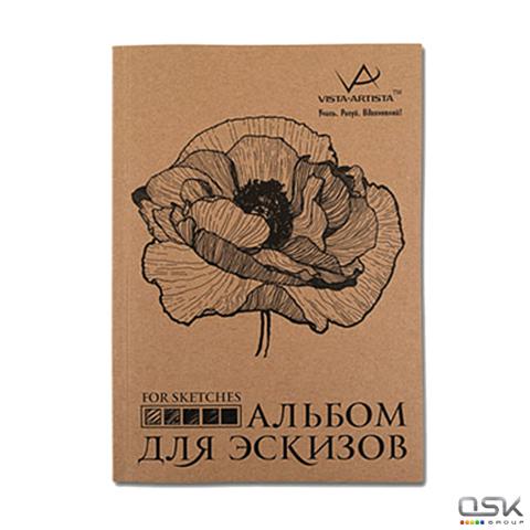 Альбом для эскизов (скетчбук), белая бумага 210х297мм, 150г/м, 32л, VISTA-ARTISTA, шк51829