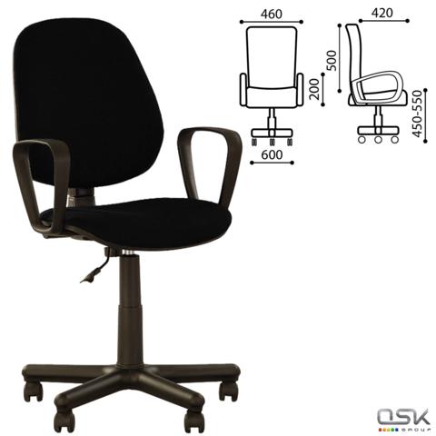 """Кресло оператора """"Forex GTP"""" с подлокотниками, черное С-11, ш/к 15140"""