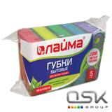 Губки бытовые для мытья посуды КОМПЛЕКТ 5шт, поролон/абразив, в26*ш80*г53мм, ЛАЙМА, К0014, 601555