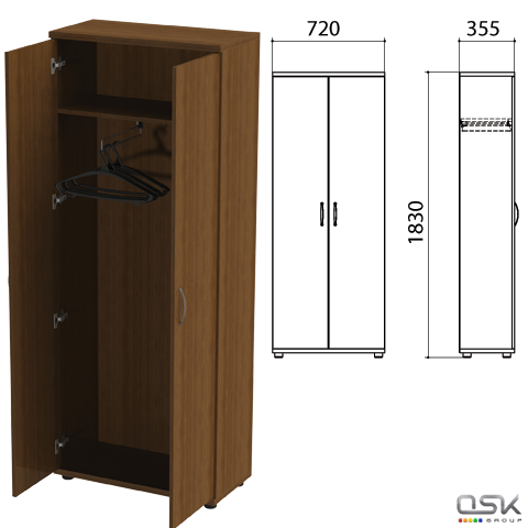 "Шкаф (каркас) для одежды ""Эко"", 720х355х1830 мм, орех, 402897, 402897-190"