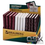 "Бизнес-блокнот BRAUBERG А7+, 95*145мм, ""Instinct"", глянцев. винил, заст, линия, 64л, ассорти, 125245"