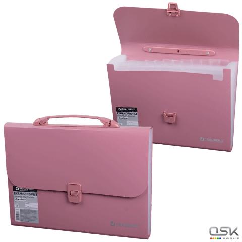 Портфель пласт. BRAUBERG А4 (327х254х30мм), 13 отделений, индекс. ярлыки, розовый, 221441
