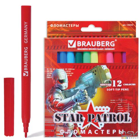 """Фломастеры BRAUBERG """"Star Patrol"""", 12 цв., вент.колп., карт. упаковка, увелич. срок службы, 150544"""