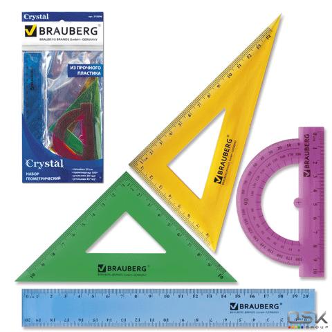"""Набор чертежный средний BRAUBERG """"Сrystal"""" (линейка 20 см, 2 угольника,транспортир), цветной, 210296"""